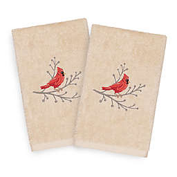 Linum Home Christmas Cardinal Hand Towels in Sand (Set of 2)