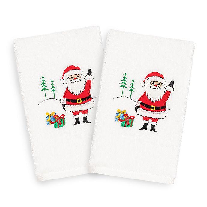 Alternate image 1 for Linum Home Christmas Santa Waving Hand Towels (Set of 2)