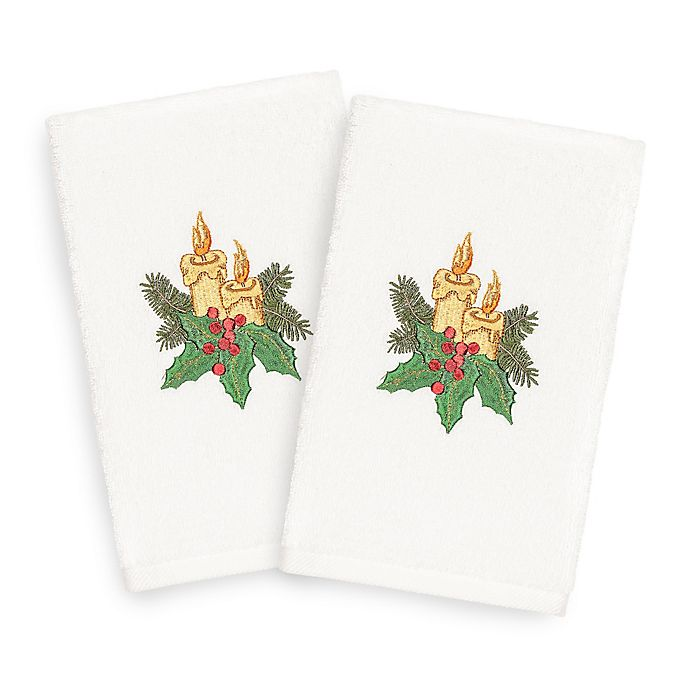 Alternate image 1 for Linum Home Christmas Candles Hand Towels (Set of 2)