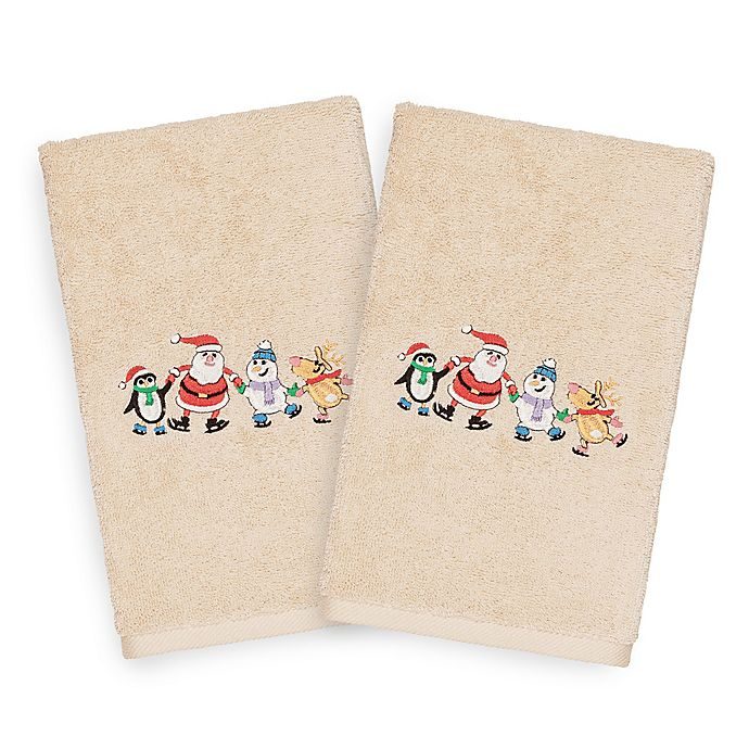 Alternate image 1 for Linum Home Christmas Skating Party Hand Towels in Sand (Set of 2)