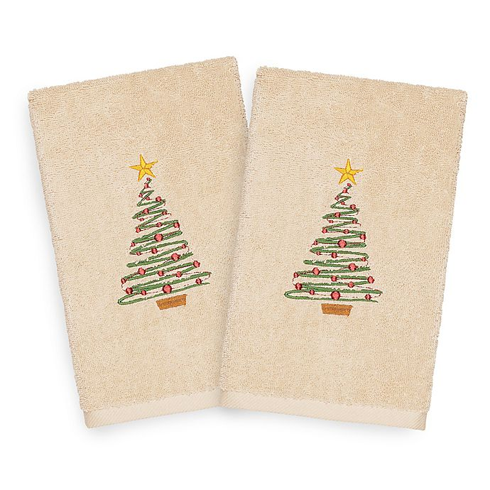 Alternate image 1 for Linum Home Christmas Tree Hand Towels in Sand (Set of 2)