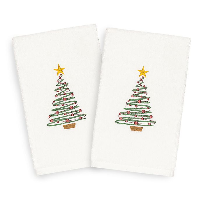 Alternate image 1 for Linum Home Christmas Tree Hand Towels (Set of 2)