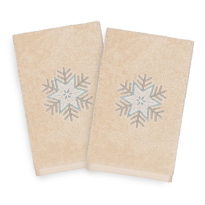 Alternate image 1 for Linum Home Christmas Crystal Hand Towels in Sand (Set of 2)