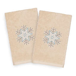 Linum Home Christmas Crystal Hand Towels in Sand (Set of 2)