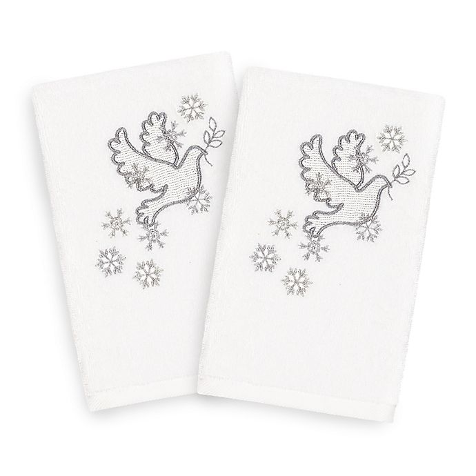 Alternate image 1 for Linum Home Christmas Dove Hand Towels in White (Set of 2)
