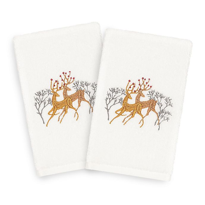 Alternate image 1 for Linum Home Textiles Christmas Deer Pair Hand Towels in White (Set of 2)