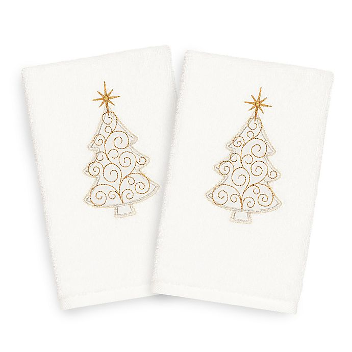 Alternate image 1 for Linum Home Textiles Christmas Scroll Tree Hand Towels in White (Set of 2)