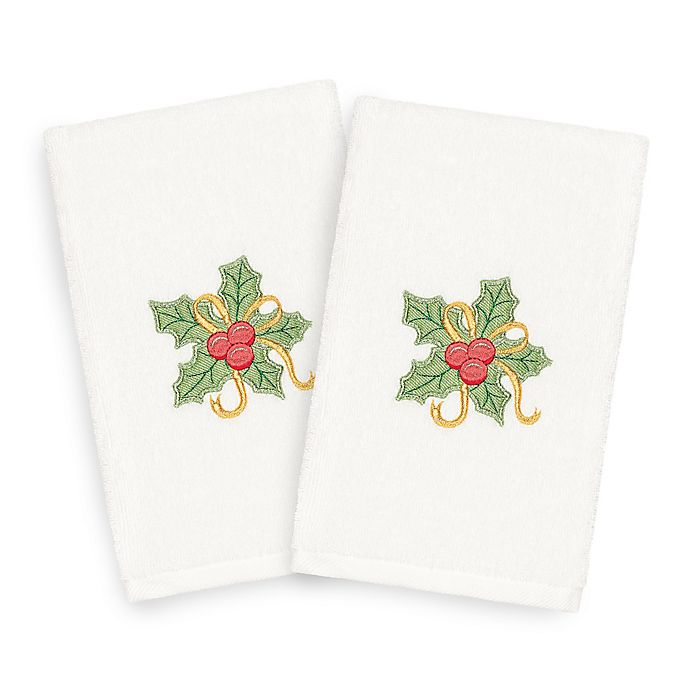 Alternate image 1 for Linum Home Textiles Christmas Holly Bunch Hand Towels (Set of 2)