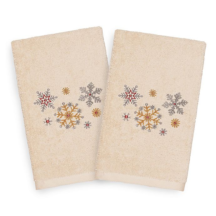 Alternate image 1 for Linum Home Textiles Christmas Snowfall Hand Towels in Sand (Set of 2)