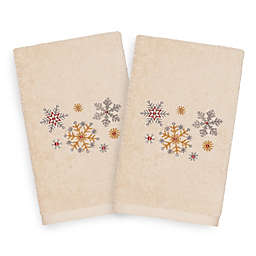 Linum Home Textiles Christmas Snowfall Hand Towels in Sand (Set of 2)