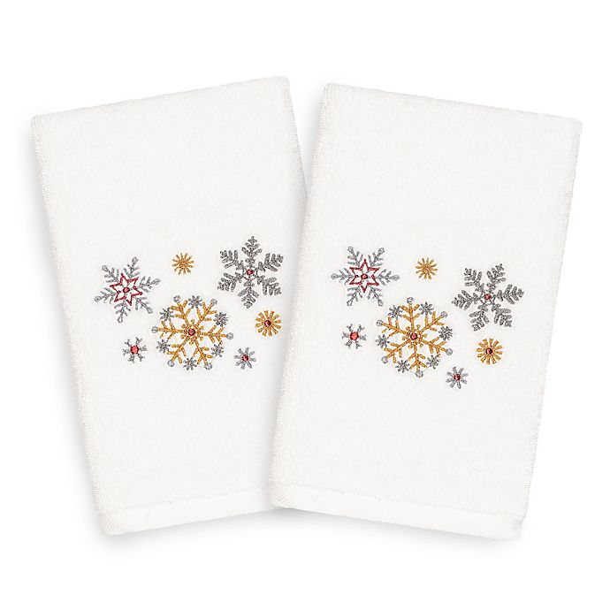 Alternate image 1 for Linum Home Textiles Christmas Snowfall Hand Towels (Set of 2)