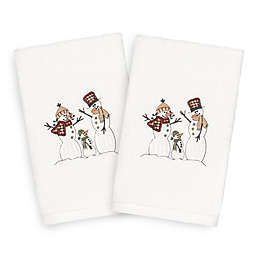 Linum Home Christmas Snow Family Hand Towels (Set of 2)