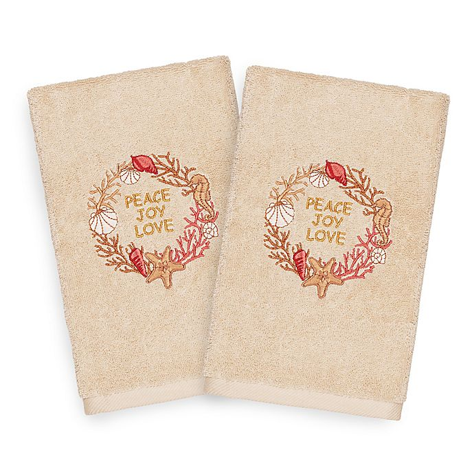 Alternate image 1 for Linum Home Christmas Peace Hand Towels in Sand (Set of 2)