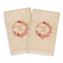 Linum Home Christmas Peace Hand Towels in Sand (Set of 2)