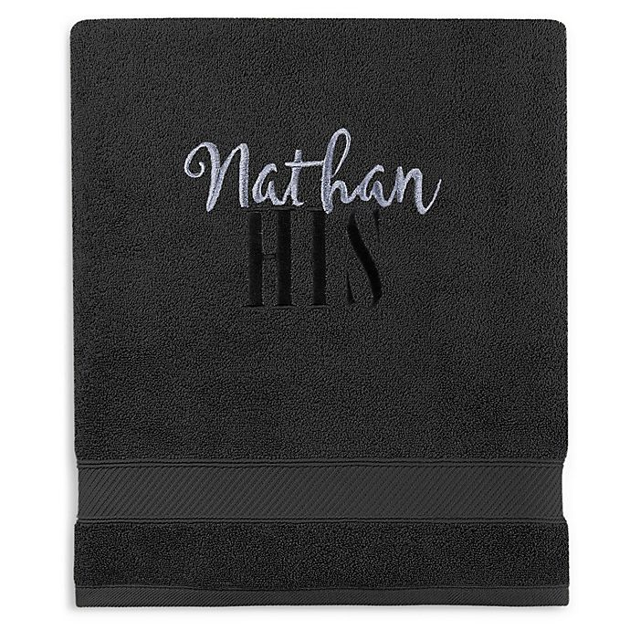 Alternate image 1 for Wamsutta® Personalized Hygro® His or Hers Duet Bath Sheet in Ebony