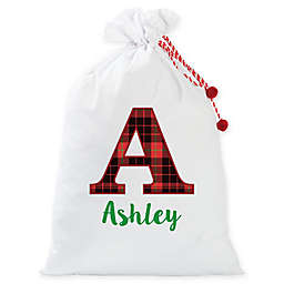 Personalized Planet Plaid Letter Santa Gift Sack