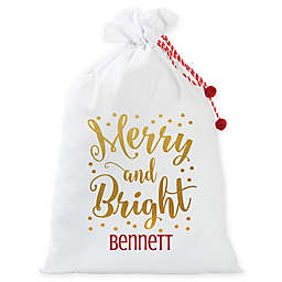 Personalized Planet Merry and Bright Santa Gift Sack