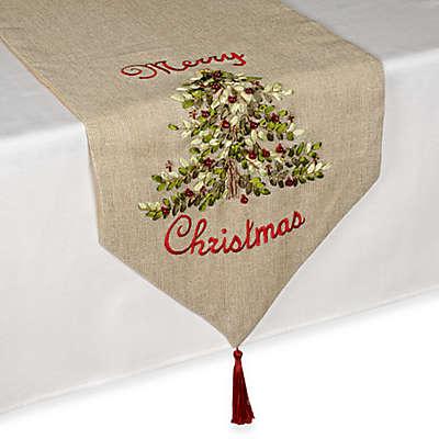 Ribboned Christmas Tree Table Runner