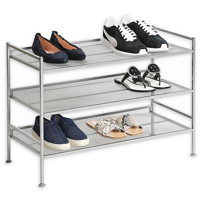 Alternate image 1 for Seville Classics Inc. 3-Tier Multi-Position Mesh Shoe Rack
