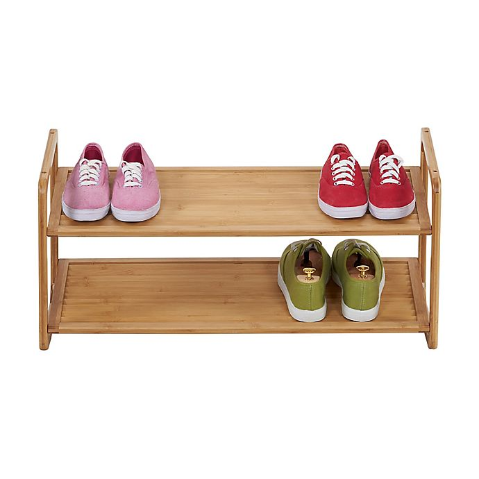 Alternate image 1 for Household Essentials® 2-Tier Bamboo Shoe Rack