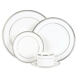 Nevaeh White® by Fitz and Floyd® Grand Rim Double Band Platinum Dinnerware Collection