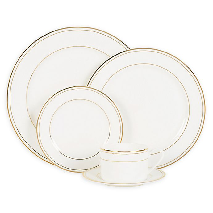 Alternate image 1 for Nevaeh White® by Fitz and Floyd® Grand Rim Double Band Gold Dinnerware Collection