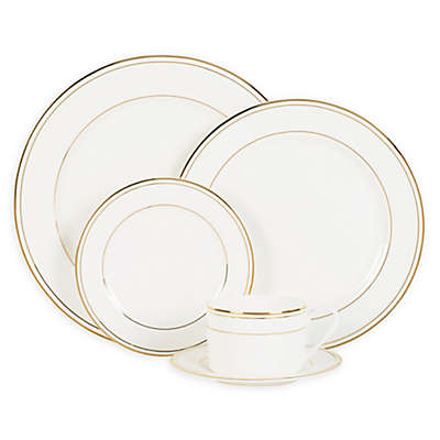 Nevaeh White® by Fitz and Floyd® Grand Rim Double Band Gold Dinnerware Collection