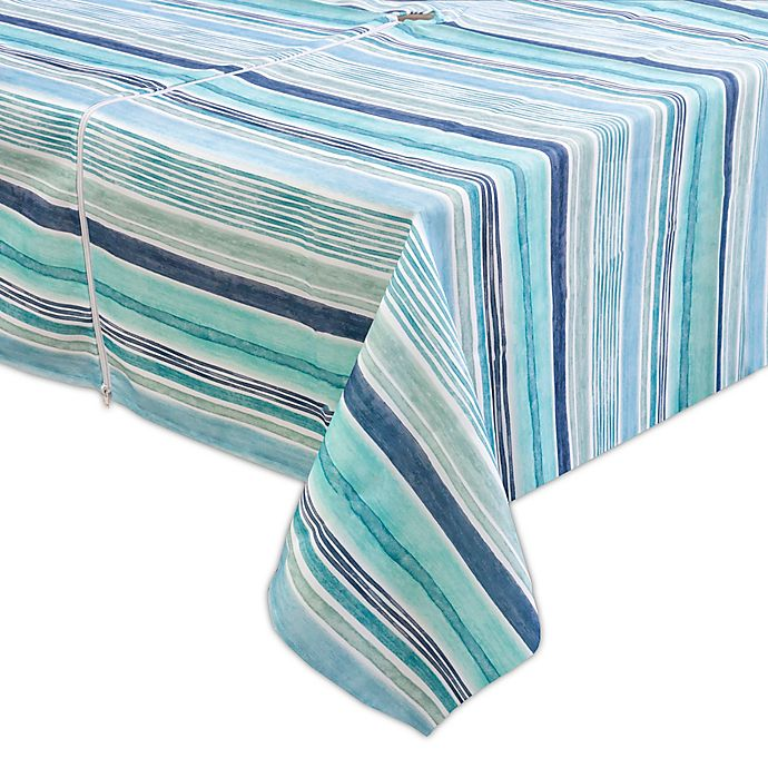 Alternate image 1 for Destination Summer Laguna Striped Indoor/Outdoor Tablecloth