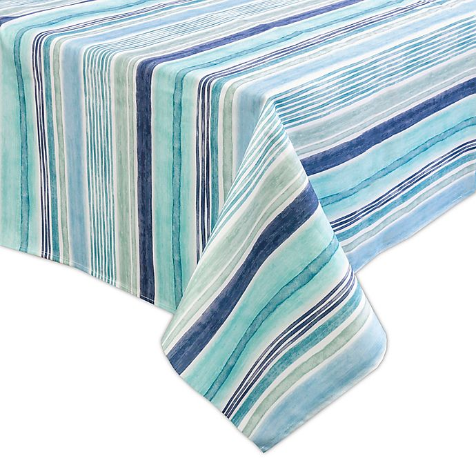 Alternate image 1 for Destination Summer Laguna Striped Indoor/Outdoor 60-Inch x 84-Inch Oblong Tablecloth in Blue