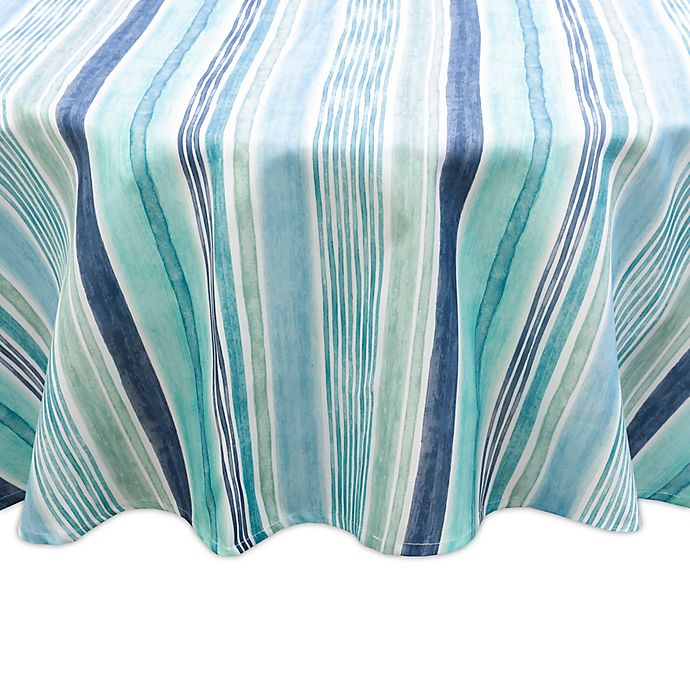 Alternate image 1 for Destination Summer Laguna Striped Indoor/Outdoor 60-Inch Round Tablecloth in Blue