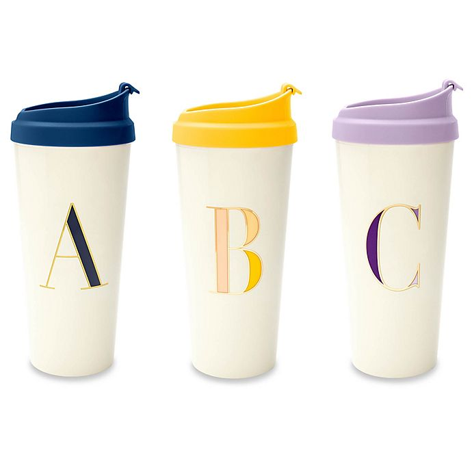 Alternate image 1 for kate spade new york It's Personal™ 16 oz. Monogrammed Travel Mug