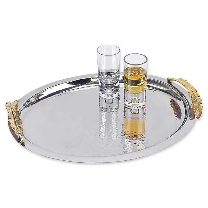 Alternate image 1 for Badash Feathers 14-Inch Oval Serving Tray