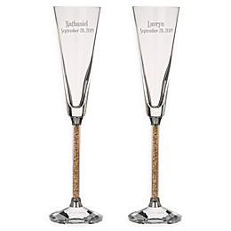 Oleg Cassini Golden Diamond Toasting Flutes (Set of 2)