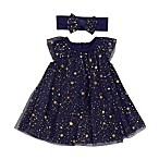 Baby Starters® Size 3M 2-Piece Tulle Star Dress and Headband Set in Navy