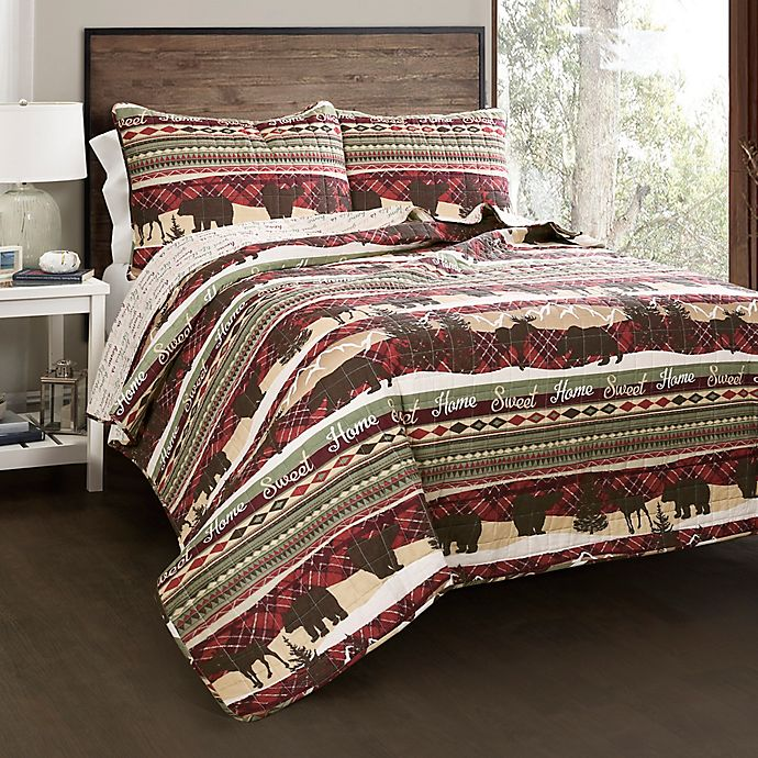 Alternate image 1 for Lush Decor Holiday Lodge Reversible Quilt Set