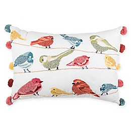 Bird Print Pom Pom Oblong Throw Pillow in Red