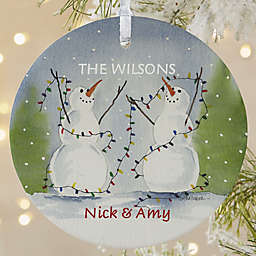 1-Sided Matte Snow Couple Personalized Ornament- Large