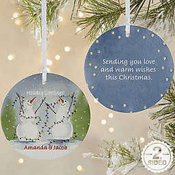 2-Sided Matte Snow Couple Personalized Ornament- Large