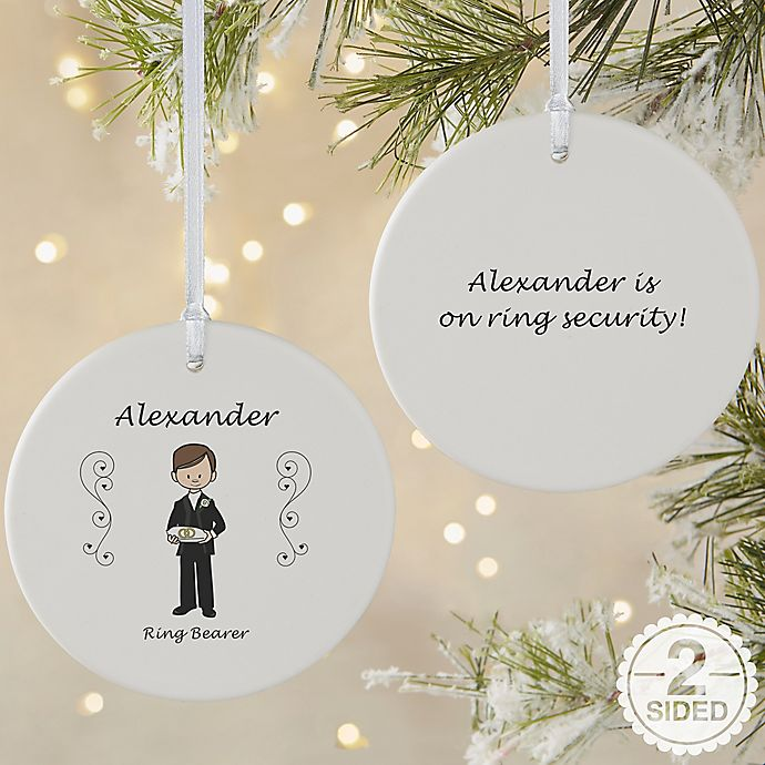 Custom Christmas Ornaments Canada.2 Sided Matte Wedding Party Characters Personalized Ornament Large