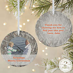 2-Sided Matte Camouflage Photo Personalized Ornament- Large
