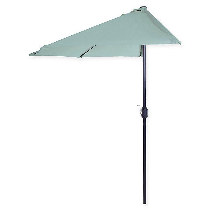 Alternate image 1 for Pure Garden 9-Foot Half Round Patio Market Umbrella in Dusty Blue