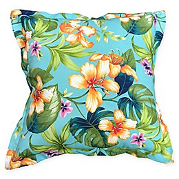 Destination Summer Floral Indoor/Outdoor Square Throw Pillow in Aqua