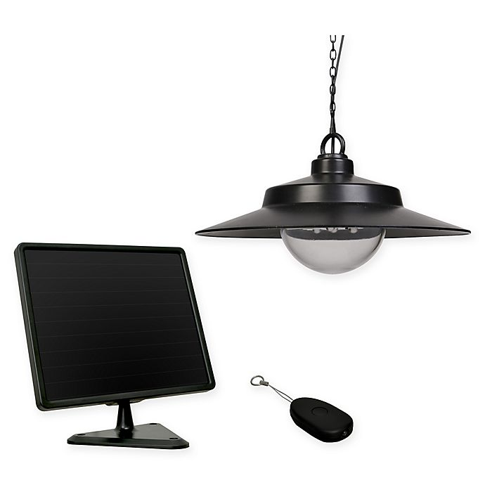 Alternate image 1 for Solar Hanging Light in Black with Remote Control