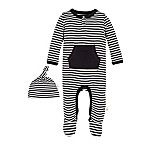 Burt's Bees Baby® Size 6M 2-Piece Footed Coverall and Hat Set in Grey/Black