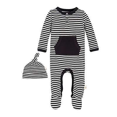 Burt's Bees Baby® 2-Piece Footed Coverall and Hat Set in Grey/Black