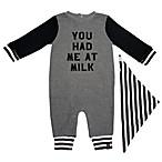 "Mini Heroes™ Newborn ""You Had Me At Milk"" Coverall and Bandana Set in Grey"