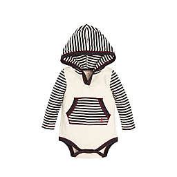 Burt's Bees Baby® Candy Cane Stripe Hooded Bodysuit in Ivory