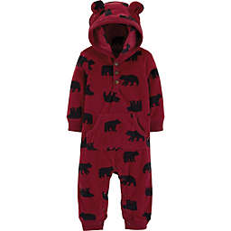 carter's® Hooded Fleece Bear Coverall in Red