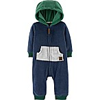 carter's® Size 3M Hooded Fleece Coverall in Navy/Green