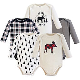 Hudson Baby® 5-Pack Moose Bodysuits in Beige/Grey/White